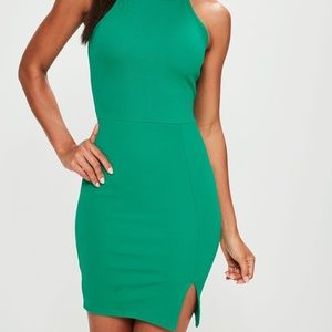 Green 90s Neck Side Split Dress 0